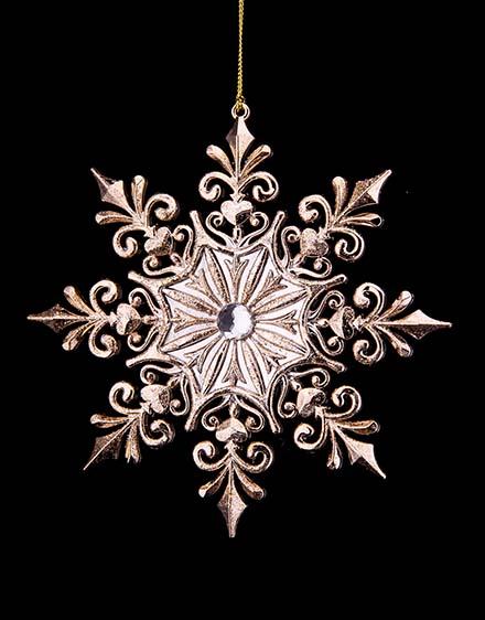 Snehová vločka  ružovo zlatá