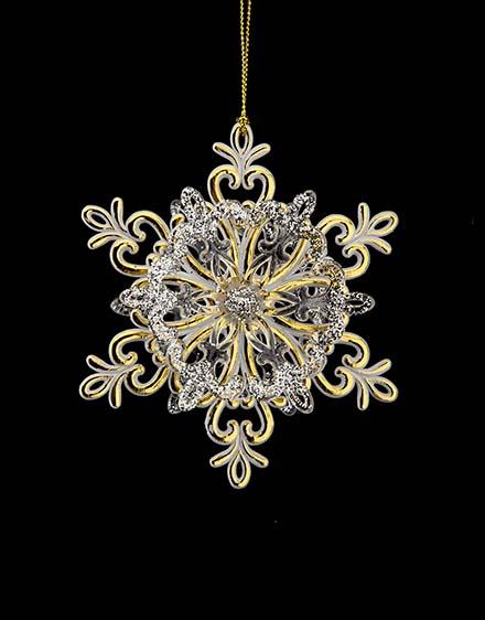 3D snehová vločka zlato strieborná